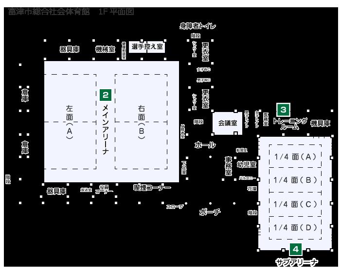 富津市総合社会体育館 1F平面図
